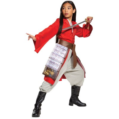 Kids' Mulan Hero Red Dress Deluxe Halloween Costume (4-6)