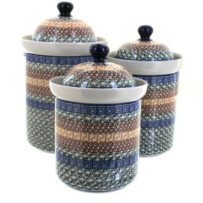 Blue Rose Polish Pottery Athena 3 Piece Canister Set