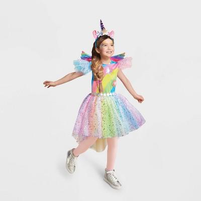 Kids' Light Up Rainbow Unicorn Halloween Costume Dress with Headpiece - Hyde & EEK! Boutique™