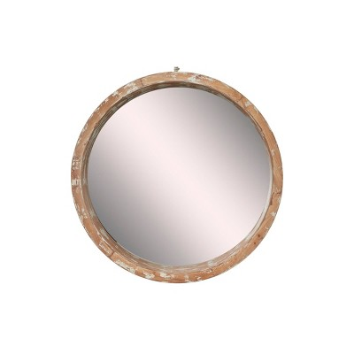 """39"""" x 39"""" Vintage Style Distressed Large Round Wood Wall Mirror - Olivia & May"""