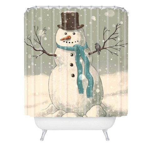 Snowman Shower Curtain Blue - Deny Designs - image 1 of 2