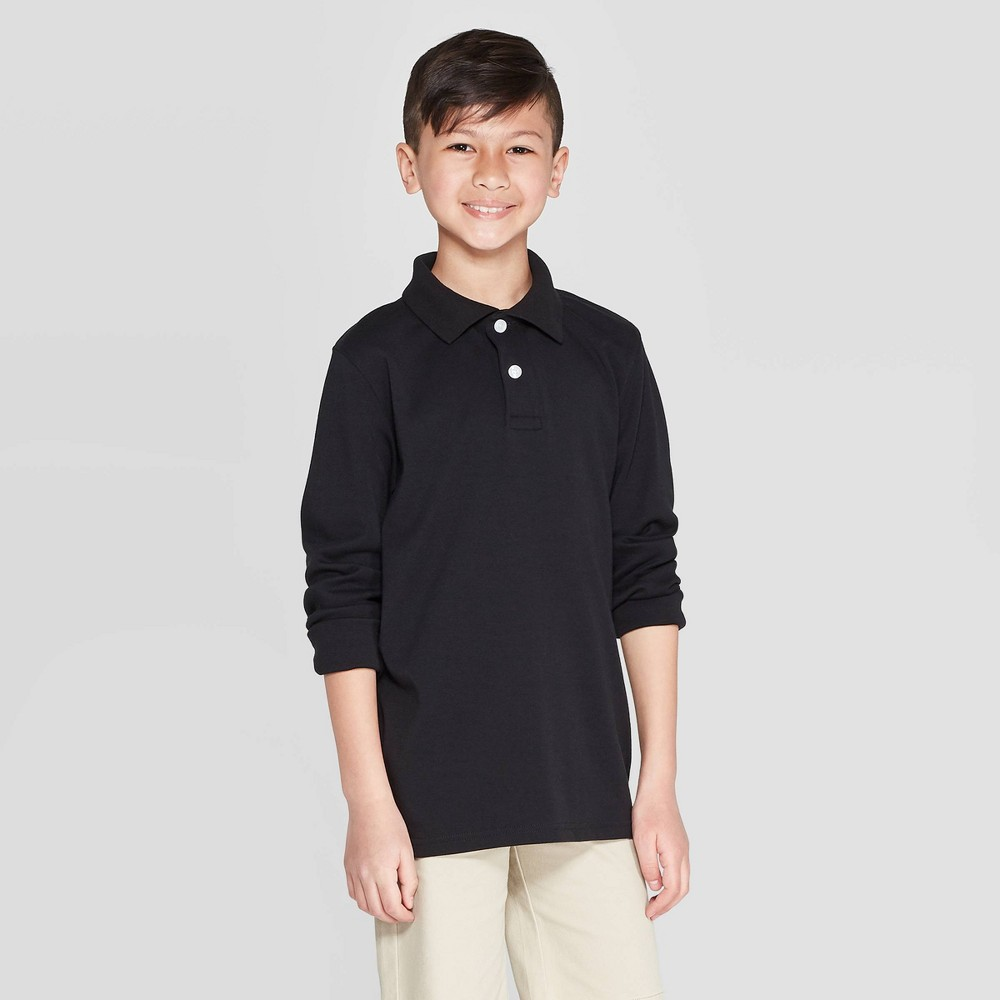 Boys' Long Sleeve Interlock Uniform Polo Shirt - Cat & Jack Black M