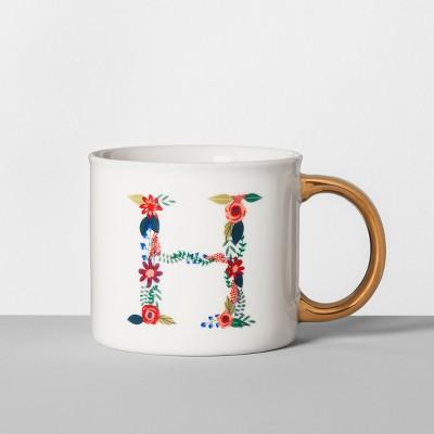 Monogrammed Porcelain Floral Mug H 16oz White/Gold - Opalhouse™