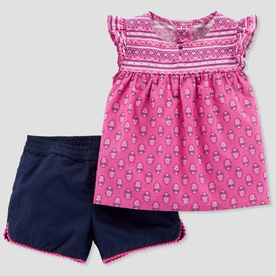 Baby Girls' 2pc Pattern Top and Shorts Set - Just One You® made by carter's Purple/Navy 9M