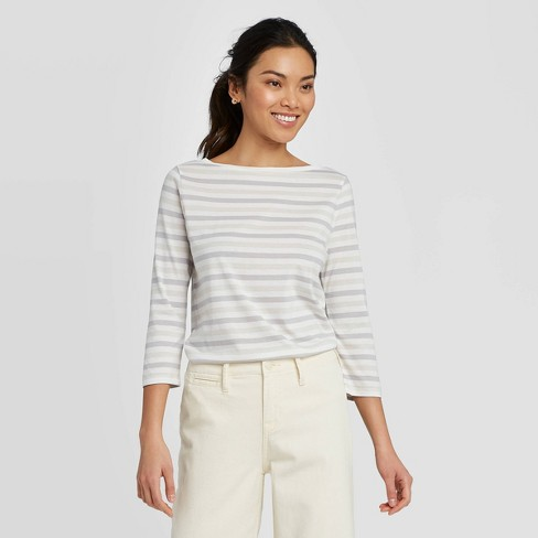 Women's Striped Slim Fit Long Sleeve Boat Neck T-Shirt - A New Day™ - image 1 of 3