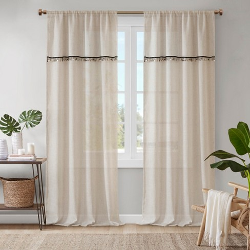 "50""x95"" Andrea Faux Linen Rod Pocket Window Curtain - image 1 of 8"