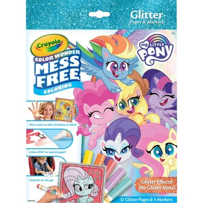Crayola 12pg My Little Pony Color Wonder Glitter Paper with Markers