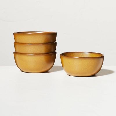4pk Stoneware Exposed Rim Mini Bowl Set Gold - Hearth & Hand™ with Magnolia