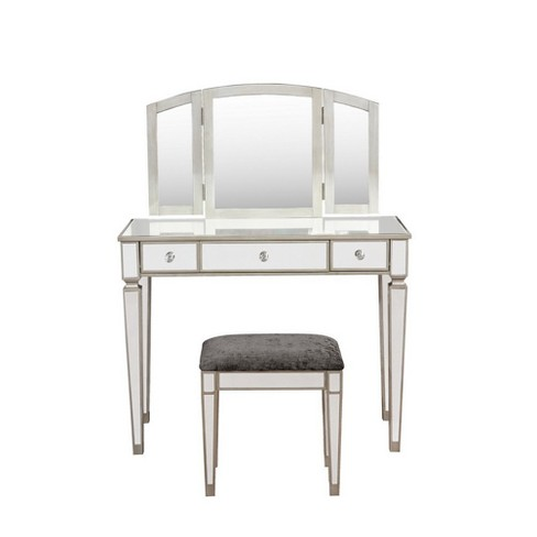 Awe Inspiring Adeline Mirrored Vanity Set Mirror Sliver Linon Download Free Architecture Designs Scobabritishbridgeorg