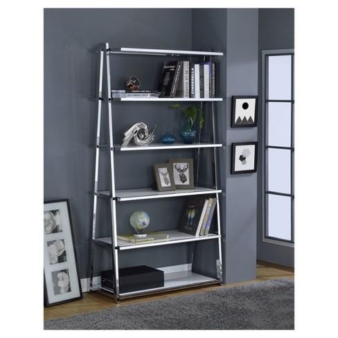 Decorative Bookshelf 71 White Chrome