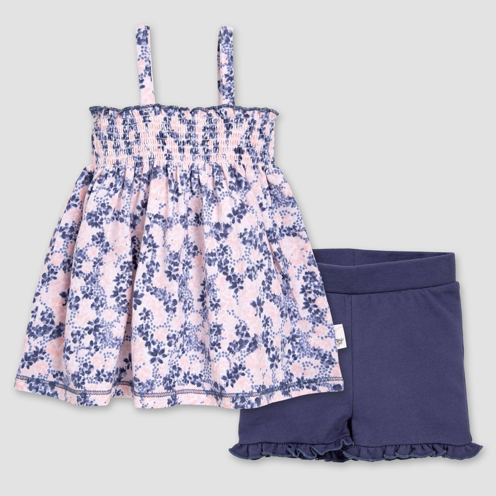 Burt's Bees Baby Girls' Ditsy Blossoms Organic Cotton Tank Top & Ruffled Shorts Set - Red 3-6M