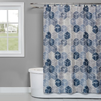 Cubes Shower Curtain Blue - Saturday Knight Ltd.