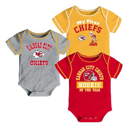 2eecb36521 Kansas City Chiefs Boys  Newest Fan 3pk Bodysuit Set 6-9 M   Target