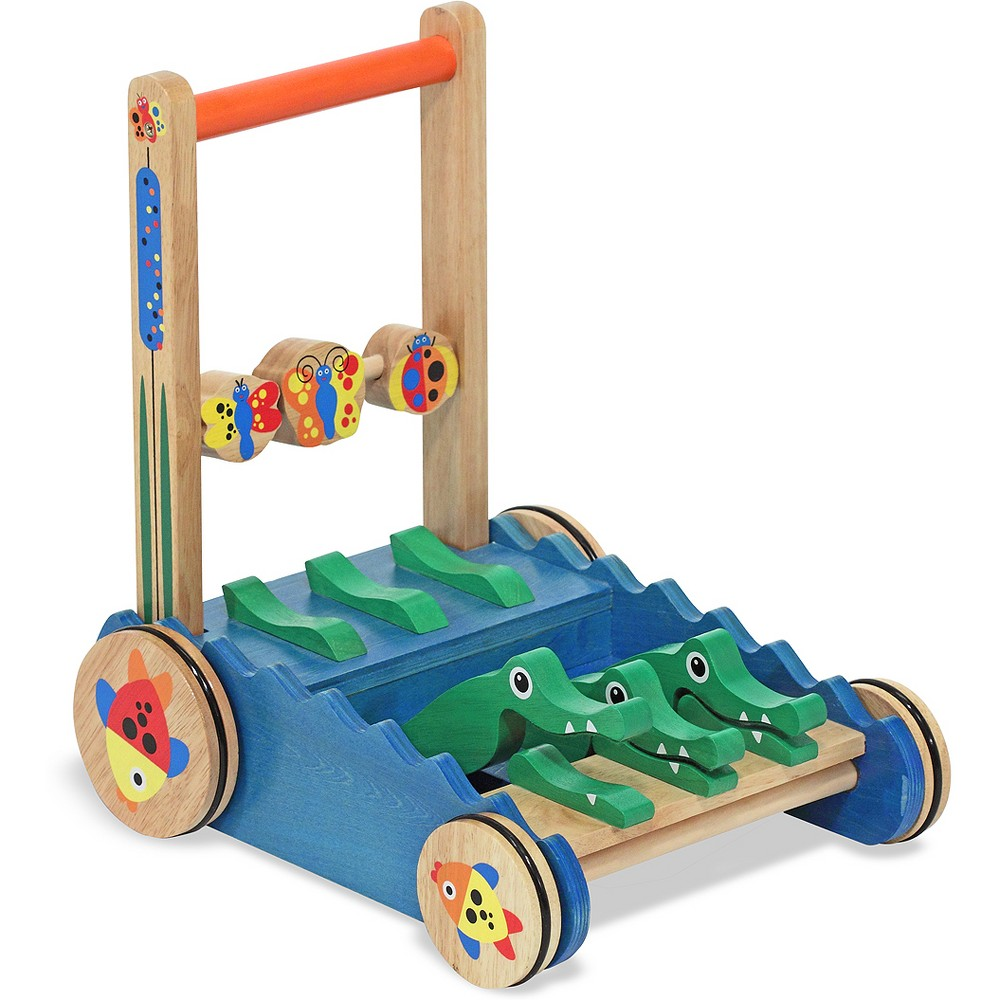 Melissa 38 Doug Deluxe Chomp And Clack Alligator Wooden Push Toy And Activity Walker
