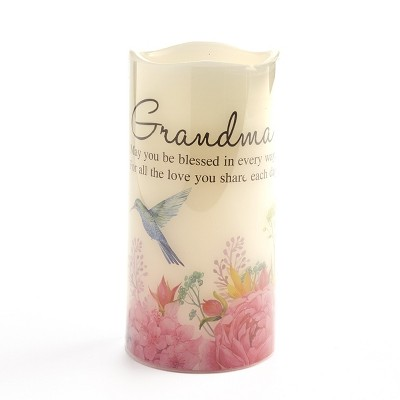 Lakeside Watercolor Flameless LED Candle with Floral Accents