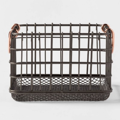 Wire Basket With Copper Handle And Mesh Bottom Pewter - Threshold™