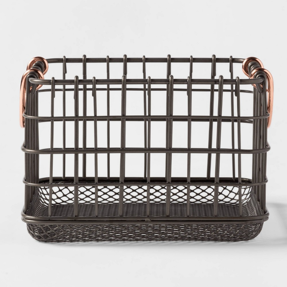 Image of Wire Basket With Copper Handle And Mesh Bottom Pewter - Threshold , Silver