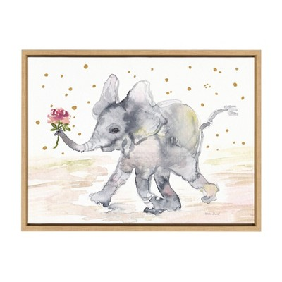 "18"" x 24"" Sylvie Baby Elephant Watercolor Framed Canvas Wall Art by Patricia Shaw Natural - Kate and Laurel"