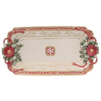 "Tabletop 10.5"" Poinsetta Tray Christmas Dinner Cosmos Gifts Corp.  -  Serving Platters"