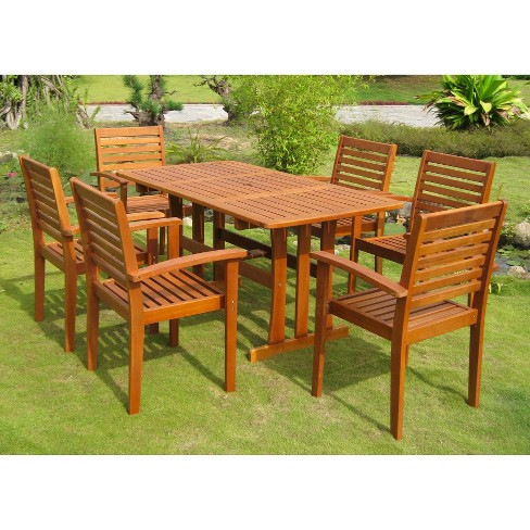 Royal Tahiti 7 Piece Badalona Sa Wood Patio Dining Furniture Set Target