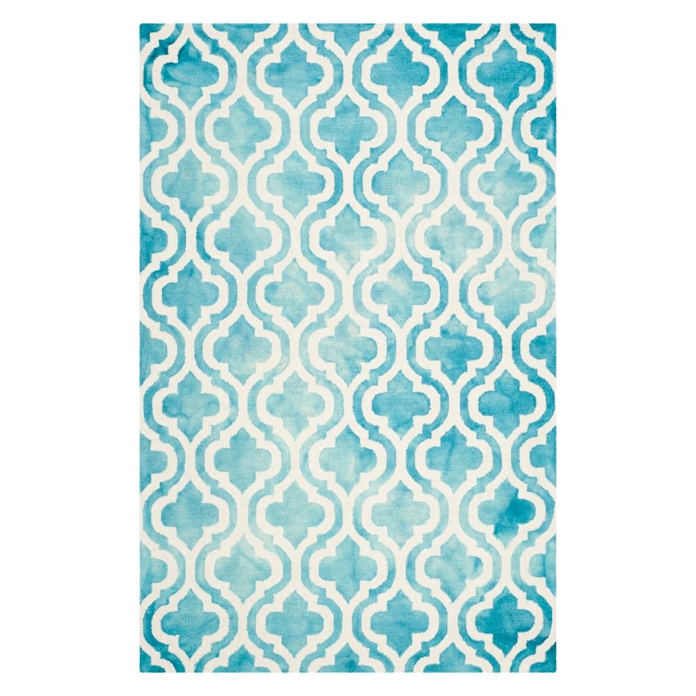 4'X6' Quatrefoil Design Area Rug Turquoise/Ivory - Safavieh