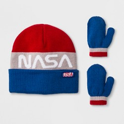 58978e07965ea Toddler Boys  NASA Cuffed Beanie and Mitten Set - Red White Blue One