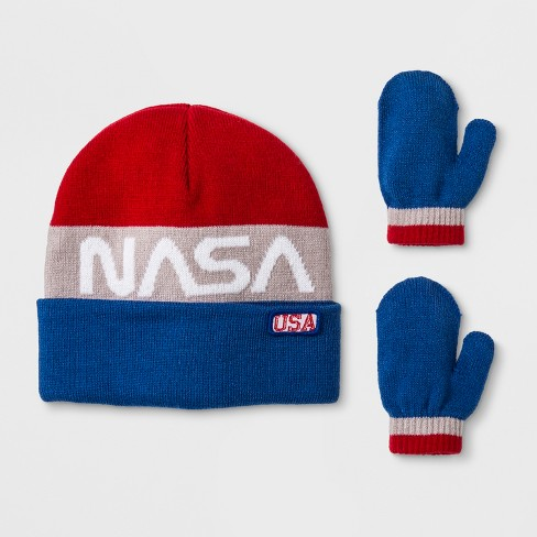 Toddler Boys  NASA Cuffed Beanie And Mitten Set - Red White Blue One ... 783dc5b2d0f