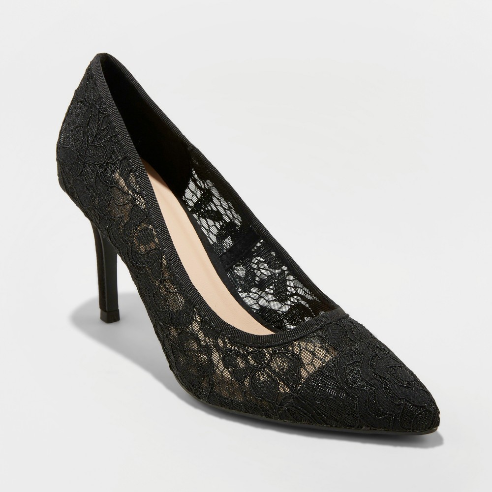Women's Gemma Lace Pointed Toe Heeled Pumps - A New Day Black 6.5, Black Lace