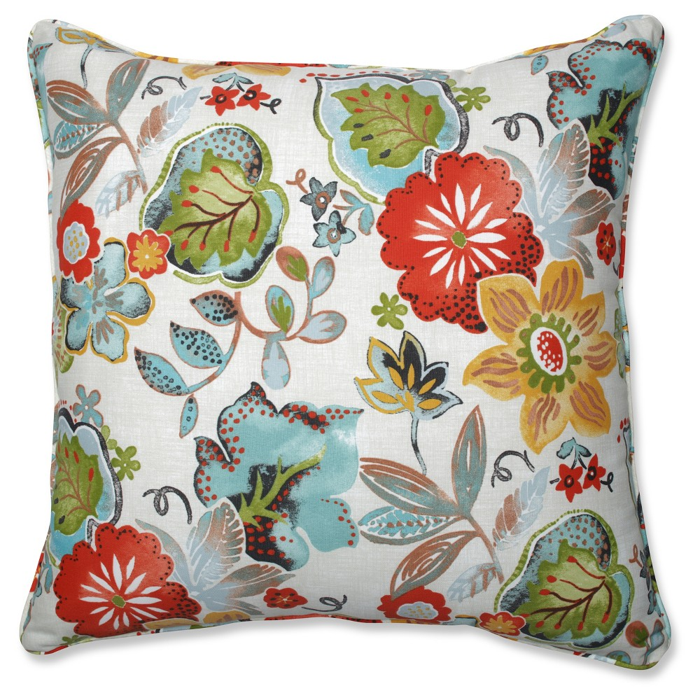 Outdoor/Indoor Alatriste Ivory Floor Pillow - Pillow Perfect, Multi-Colored