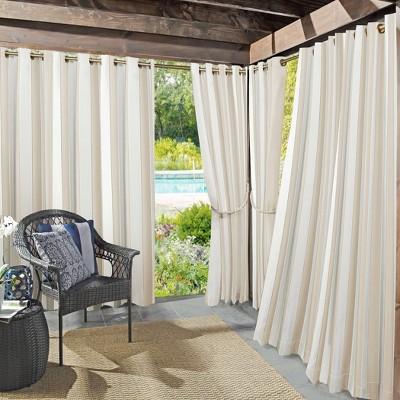 Valencia Cabana Striped Indoor/Outdoor UV Protectant Grommet Top Room Darkening Curtain Panel - Sun Zero
