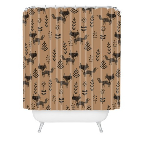 Friendly Fox Shower Curtain Brown - Deny Designs - image 1 of 3