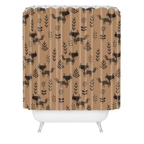 Friendly Fox Shower Curtain Brown