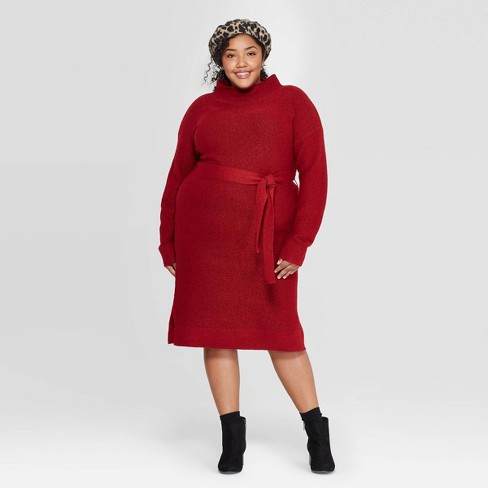 Women\'s Plus Size Long Sleeve Turtleneck Belted Sweater Dress - A New Day™  Red X