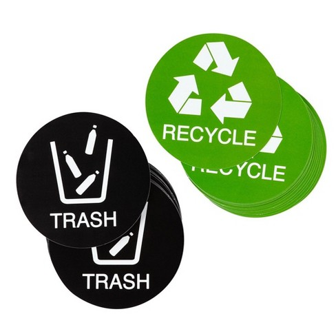 Juvale 24 Pack Recycle or Trash Sticker Labels for Trash Can Bins, Office Supply (4 in) - image 1 of 4