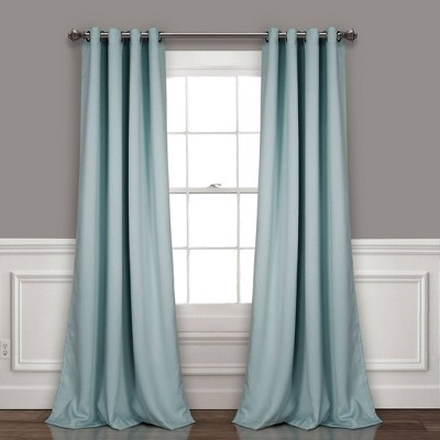 "Set of 2 95""x52"" Insulated Grommet Blackout Curtain Panels Blue - Lush Décor"