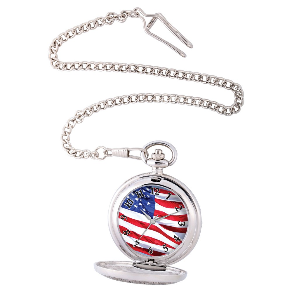 Image of Men's eWatchfactory Flag Pocket Watch - Silver, Size: Small