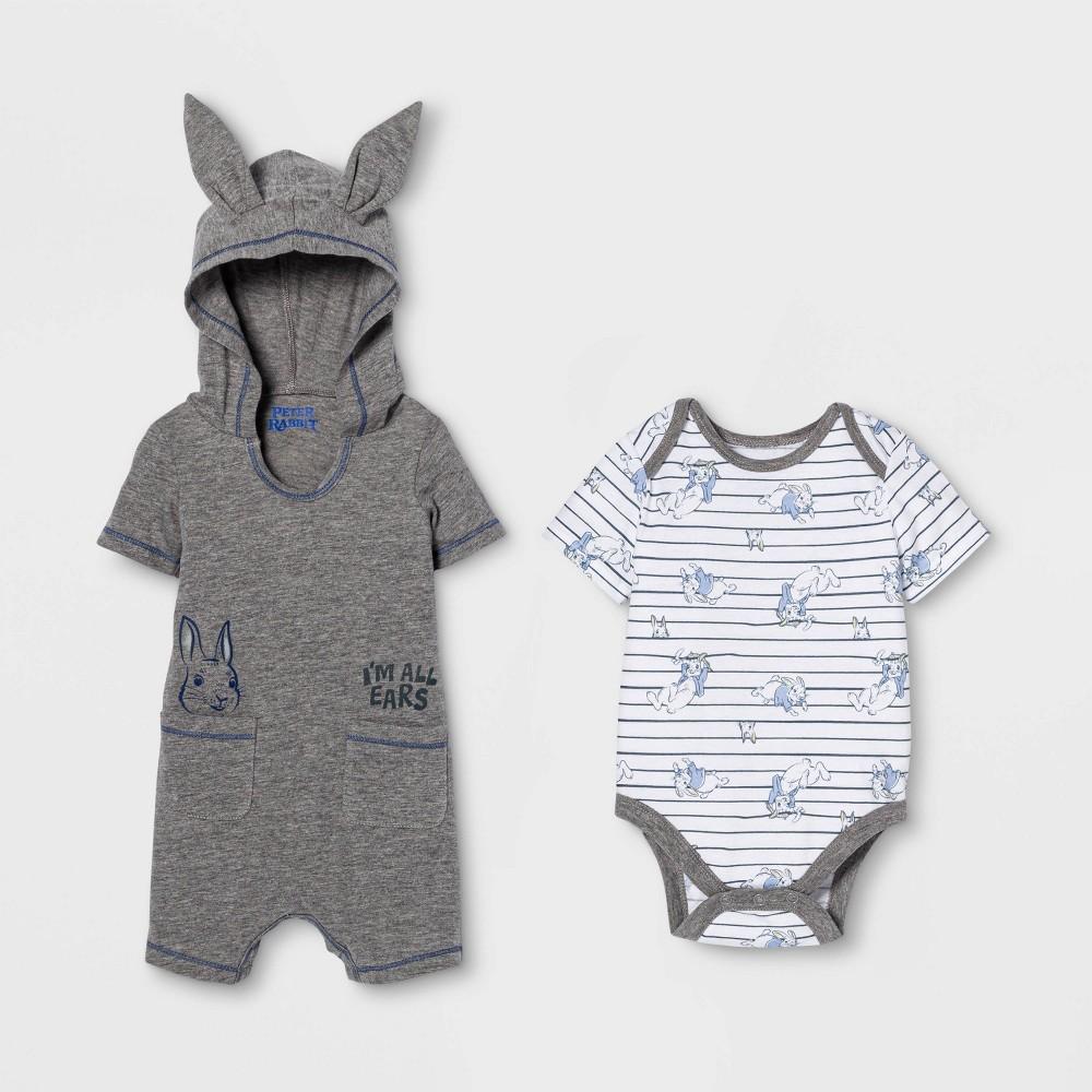 Image of Baby Boys' Peter Rabbit Bunny Romper and Bodysuit - Gray 3-6M, Boy's