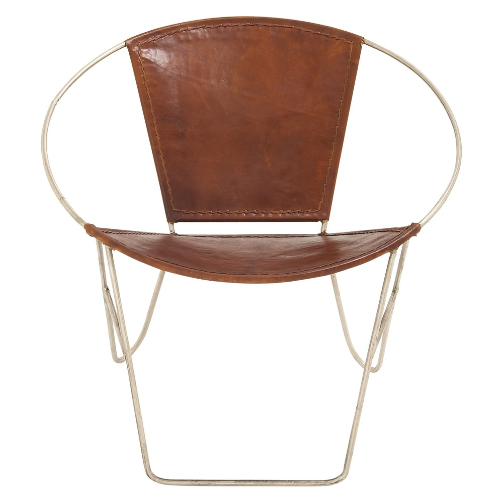 Metal and Leather (Set of 2) Chairs Gold - Olivia & May