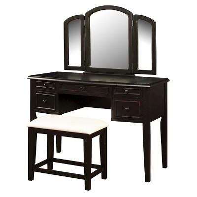 Simone Vanity Mirror & Bench Antique Black - Powell Company