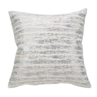 "18"" Down Filled Foil Print Faux Fur Pillow - Saro Lifestyle"