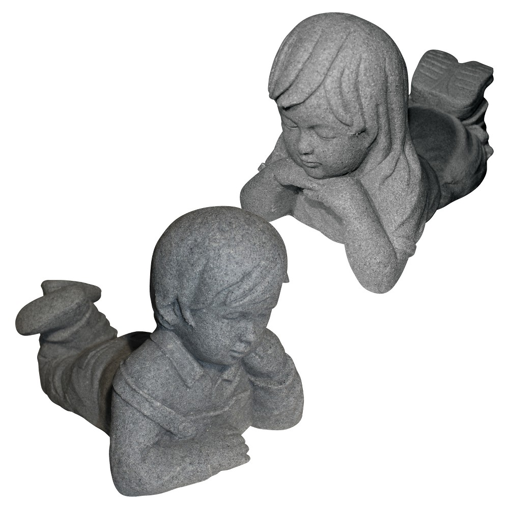 "Image of ""10.88"""" Garden StoneDay Dreamers Boy And Girl Statuary - Gray - Emsco"""
