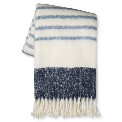 Blue Stripe Faux Mohair Throw Blanket (50 x60 )- Threshold™