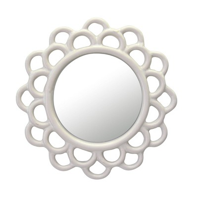 """9"""" Floral Round Cutout Ceramic Wall Hanging Mirror Ivory - Stonebriar Collection"""