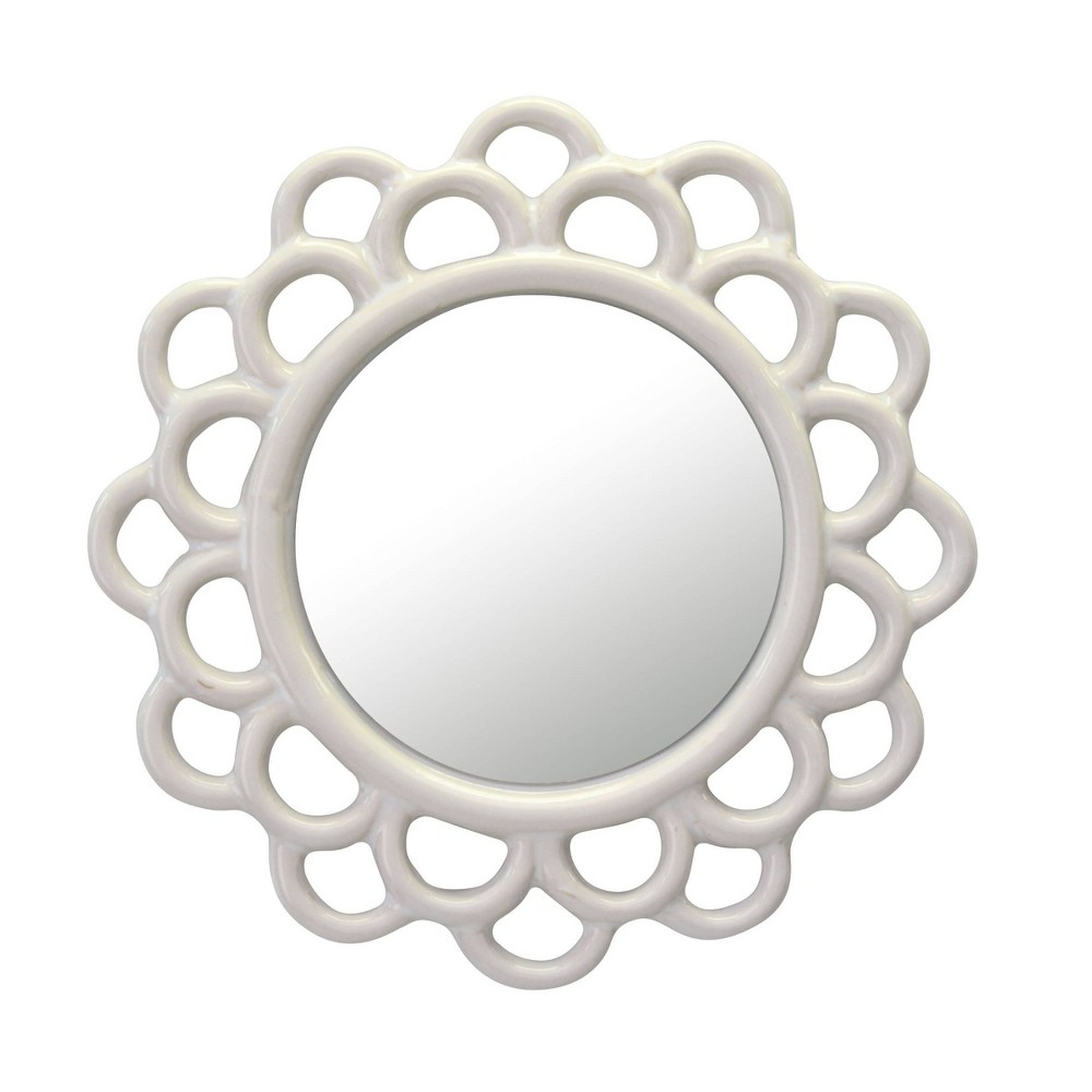 Image of Round Cutout Ceramic Wall Hanging Decorative Wall Mirror Ivory - Stonebriar Collection
