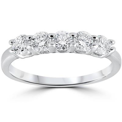 Pompeii3 1/2ct Diamond Five Stone Wedding Ring 14K White Gold