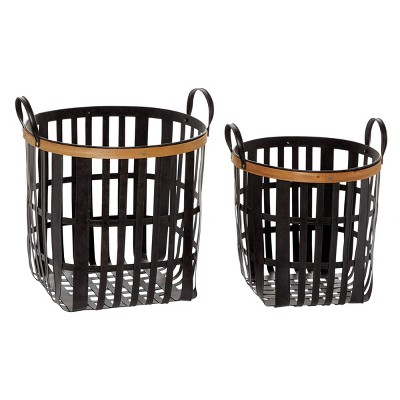 "Olivia & May 17""x20"" Set of 2 Metal and Natural Wood Basket with Handles Black"