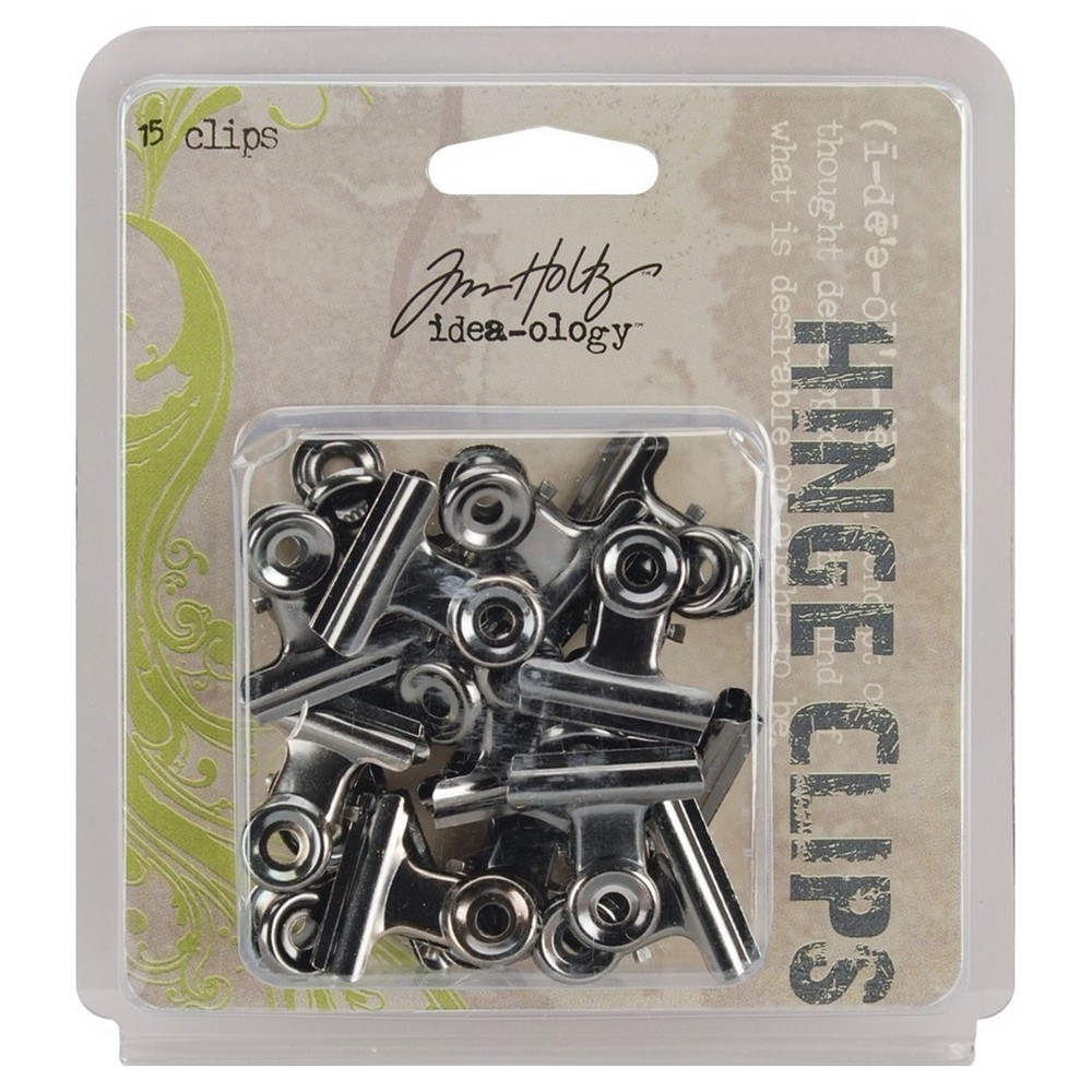 Tim Holtz Hinge Clips-Antique Nickel 1, Silver Gray