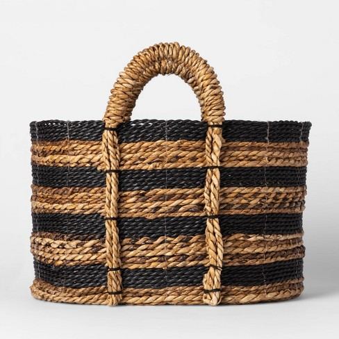 Black And Natural Striped Basket - Threshold™ - image 1 of 3