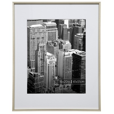 Burnes of Boston 11  x 14  Aluminum Gallery in Polished Finish Matted Single Image Frame Gold