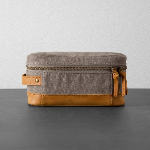 3428ede38e Canvas   Leather Toiletry Bag - Gray Tan - Hearth   Hand™ With Magnolia    Target